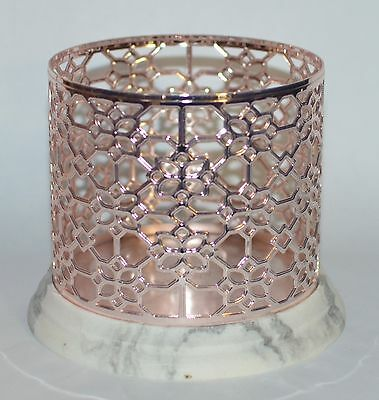 BATH BODY WORKS FLORAL ROSE GOLD MARBLE LARGE 3 WICK CANDLE HOLDER SLEEVE -