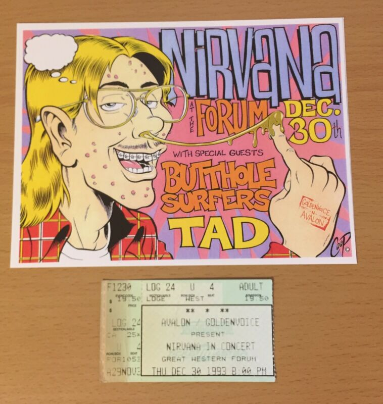 1993 NIRVANA LOS ANGELES CONCERT TICKET STUB PLUS REPRO HANDBILL KURT COBAIN U4