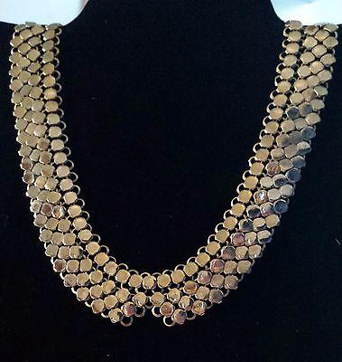 Vintage Necklace Fashion Classic Small Circles Gold Tone Bib Collar Estate 80s