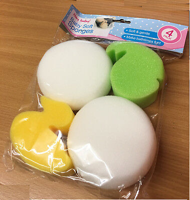 PACK OF 4  BABY SOFT SPONGES -  SPONGE GENTLE AND DELICATE ON SKIN DUCK