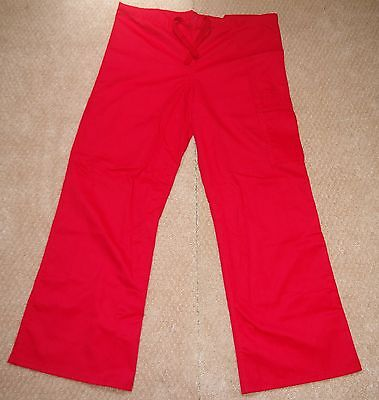 Red Gelscrubs Pant - GelScrubs Unisex Drawstring Cargo Scrub Pant cargo & back Pocket Red Size Small