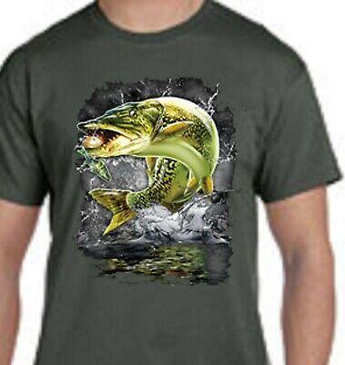 Jumping Muskie Pike Fish Muskellunge Lake River Fishing Front Design Tee Shirt
