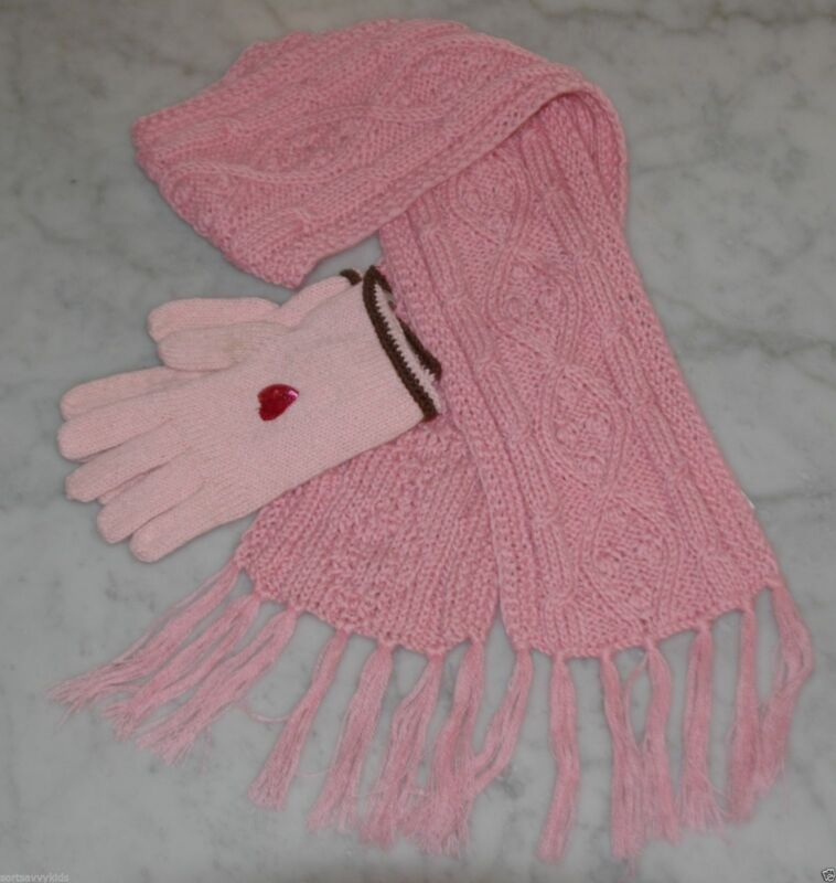 JACADI girls pink gloves with sequins heart and scarf