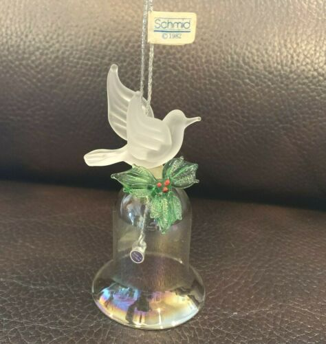 Schmid small iridescent glass bell Christmas ornament  with opaque glass dove .