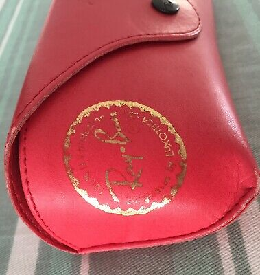 Hot pink RayBan gold embossed Leather Sunglass CASE ONLY Vintage (Hot Pink Ray Ban Sunglasses)
