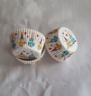 100 cute owls on branch heart white cupcake liners baking paper cup 50x33mm - Owl Cupcake Papers