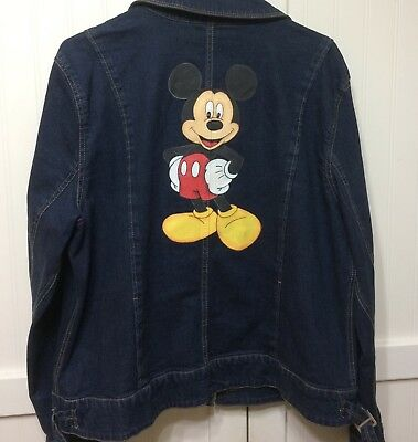 Disney Mickey Mouse Jean Jacket Coat Custom Painted Women's SZ L