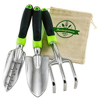 Homegrown Garden Tools 3-Piece Hand Gardening Tool Set & Tote Sack - Great Gift