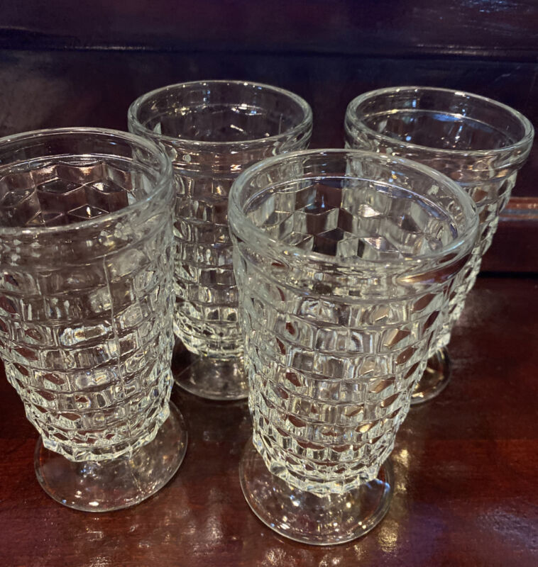 4 Indiana Whitehall Colony Cubist Clear Glass Footed Water, Ice Tea Glasses.