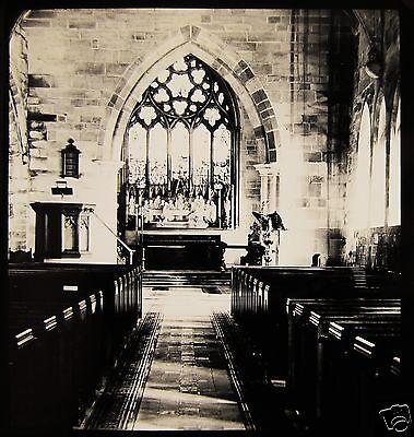Glass Magic Lantern Slide SHELDON CHURCH INTERIOR NO2 C1910 BIRMINGHAM ENGLAND