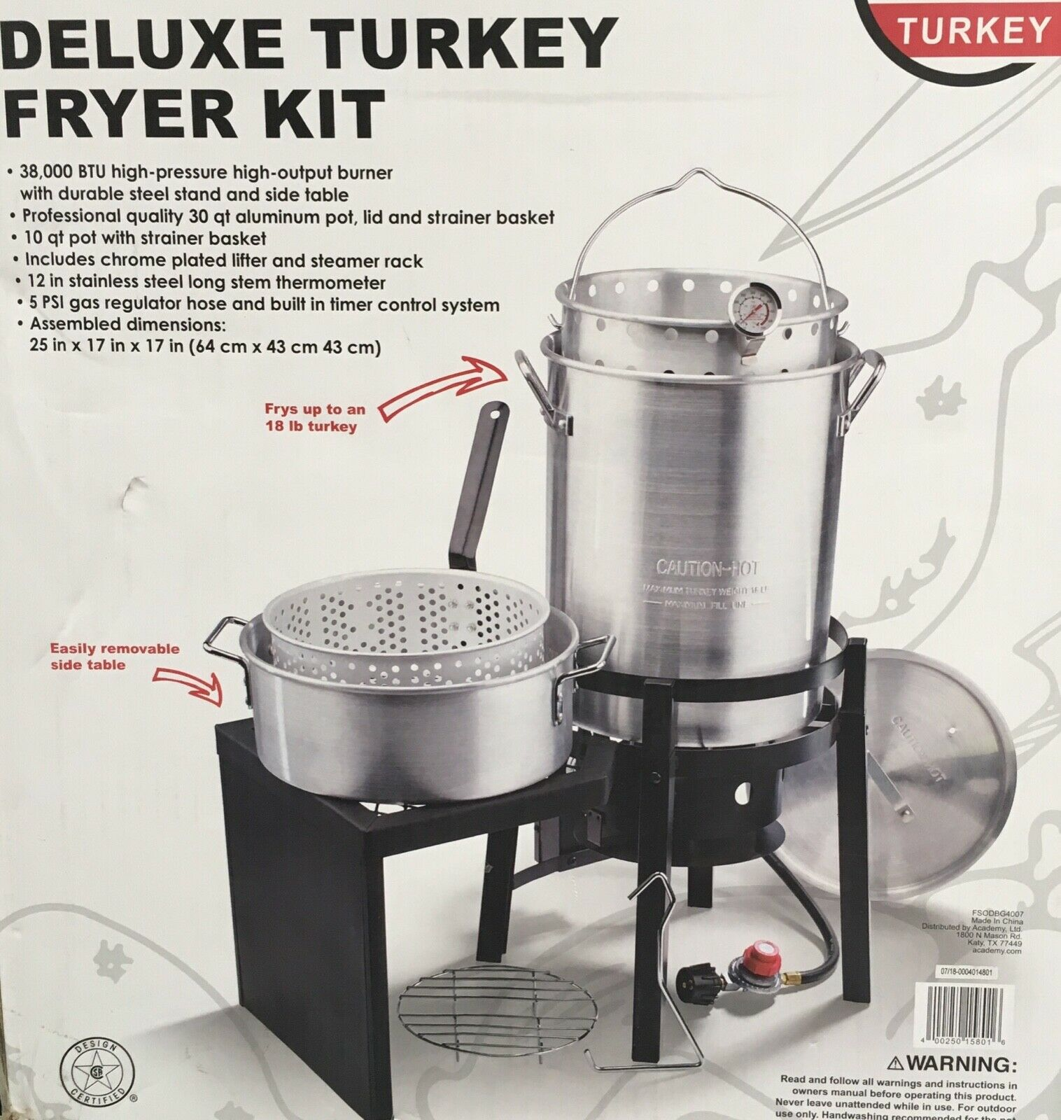 Deluxe 30QT Propane Turkey Fryer Fish Fryer With Side Table
