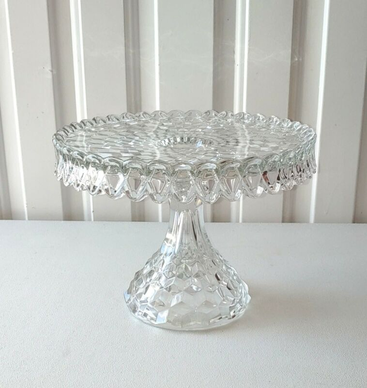 "Fostoria American Clear Cubist Glassware - 10"" Round Cake Stand"