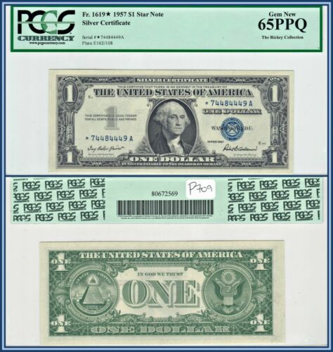1957 Star $1 Silver Certificate Dollar PCGS 65 PPQ Gem New Uncirculated Banknote