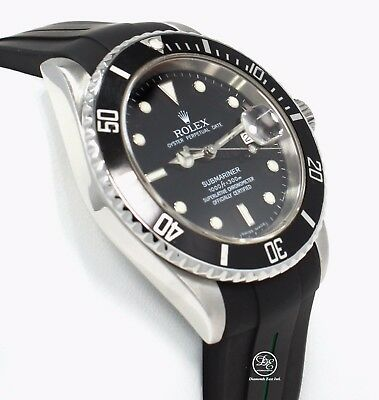 Rolex Submariner 16610 Date Stainless Steel RUBBER B Band Watch 2007 PAPERS MINT