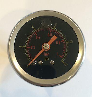 Y375b 15 Psi 1.1 Bar Liquid Filled Pressure Gauge Water Oil Gas 1.5 18 Black