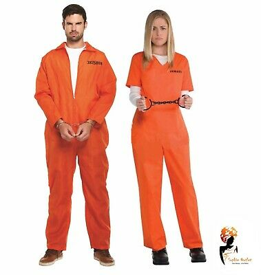 ADULT ORANGE PRISONER OVERALL Fancy Dress Costume Halloween Stag Night Party  - Halloween Costumes Overalls