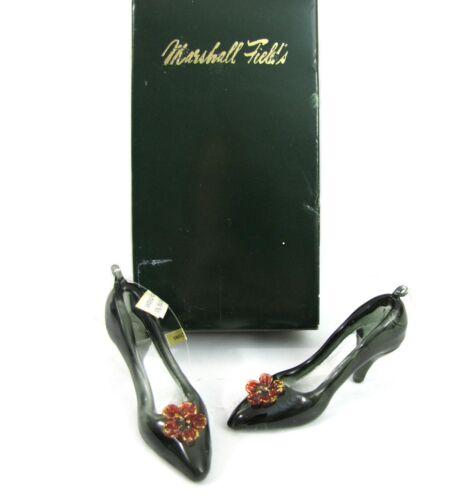 Marshall Fields Art Glass Slipper Christmas Ornament Set Pump Pair Heels in Box