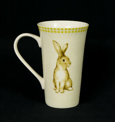 "222 Fifth Green Bunny Land Porcelain 6.25"" Tall Latte Coffee Mug Cup"