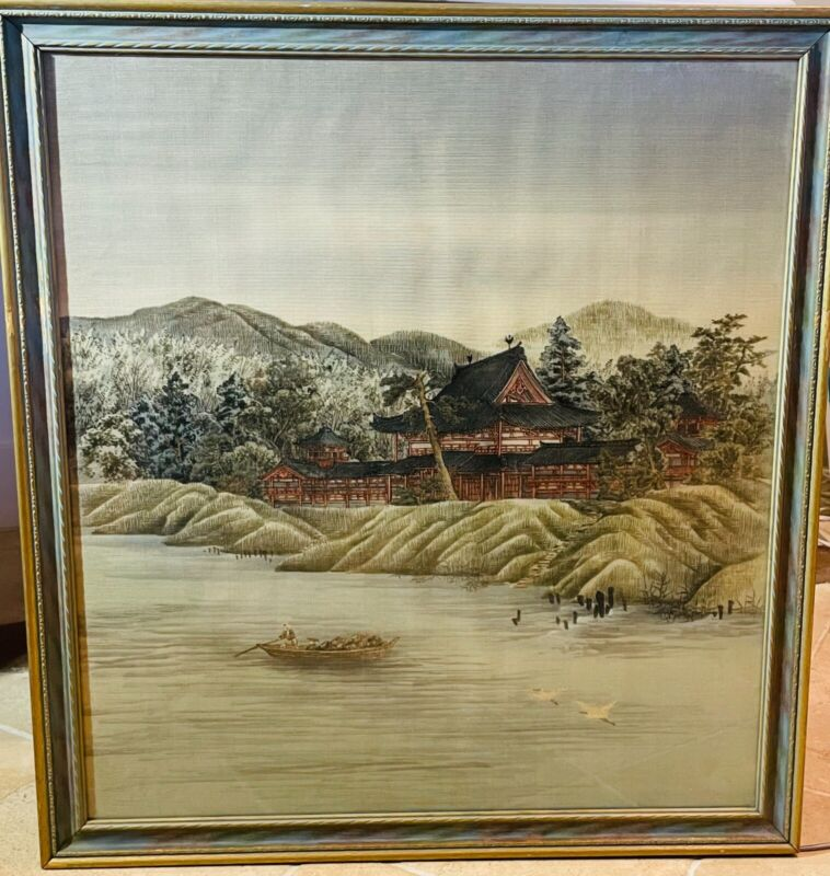 Antique Japanese Yuzen Birodo Painting, 19th Century