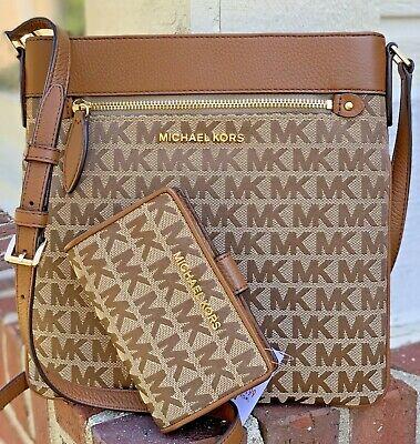Michael Kors Brown MK Signature Shoulder Bag Crossbody and Jet Set Bifold Wallet