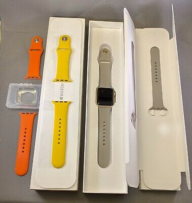 Apple Watch Series 1 Bundle: 38mm Gold Case + 3 Bands + Silver Bumper, GPS Only