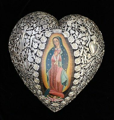 Lg Milagro Covered Heart   Oil Painting Of Virgin Of Guadalupe Mexican Folk Art