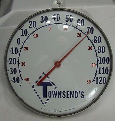"""Vintage Original Jumbo Dial Outdoor Thermometer w/advertising for Townsend's—12"""""""