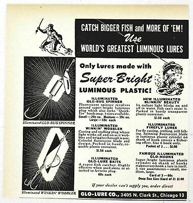 1947 Print Ad Glo-Lure Fishing Lures Winkin Wobbler,Firefly Chicago,IL