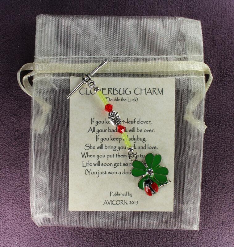 CLOVERBUG CHARM Ladybug 4-Leaf Clover Amulet Talisman Symbol Magick Luck Love
