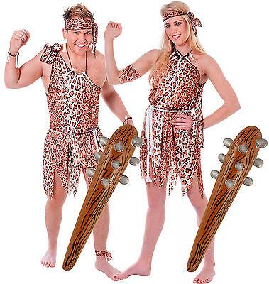 Caveman & Cavewoman Couples Fancy Dress Costume with 2 Inflatable - Cavewoman Fancy Dress Kostüm