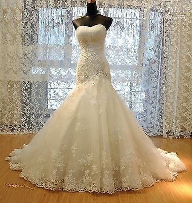 White Ivory Mermaid Gown Bridal Wedding Dress Custom Size 6 8 10 12 14 16 18