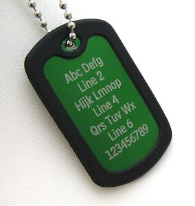1-PERSONALIZED-Dog-Tag-Necklace-Horizontal-Wording-GREEN-with-Black-Silencer