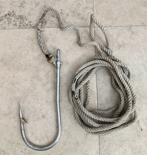 LARGE Flying Gaff Hook Stainless Steel 18 Inches Long With 22 Feet Braided Rope