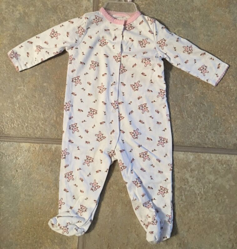 Welcome To The World Girl's Size 3-6 Months White  Sleeper With Pink Bunnies