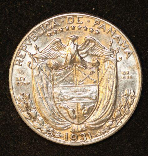 Rare Key Date 1931 Panama 1/4 Balboa, Mintage 48,000 Very Rare This Nice.