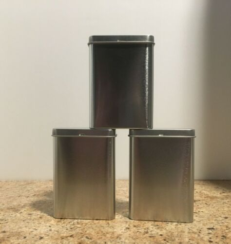 3 oz Tall Seamless Silver Rectangular Hinged Lid Tins Cans Containers--Set of 3