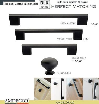 Amdecor Flat Black Modern Cabinet Pull Cup Handle knob Decor Hardware - Modern Handle Pull Cabinet Hardware
