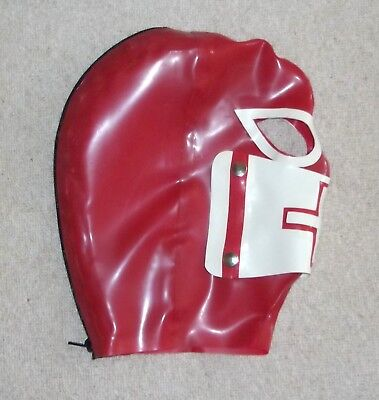 Latex Rubber Fitted Hood RED Rear zip -  Hood with detachable stud Mask S-XL