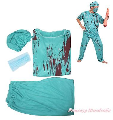 Doctor Halloween Costumes For Adults (Halloween Costume Aqua Blue Bloody Surgeon Doctor Party Dress Up for Men)
