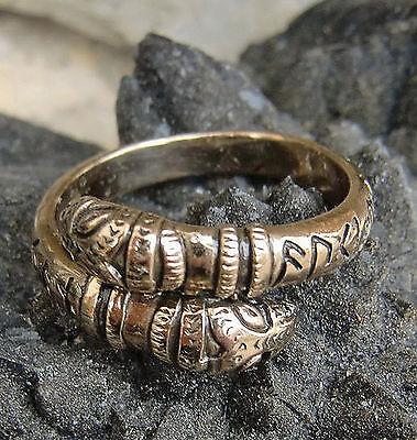 Drachenkopf Wikinger Ring Bronze Runen auki en eljan Gr.60-70 od.19-23 mm  KRAFT