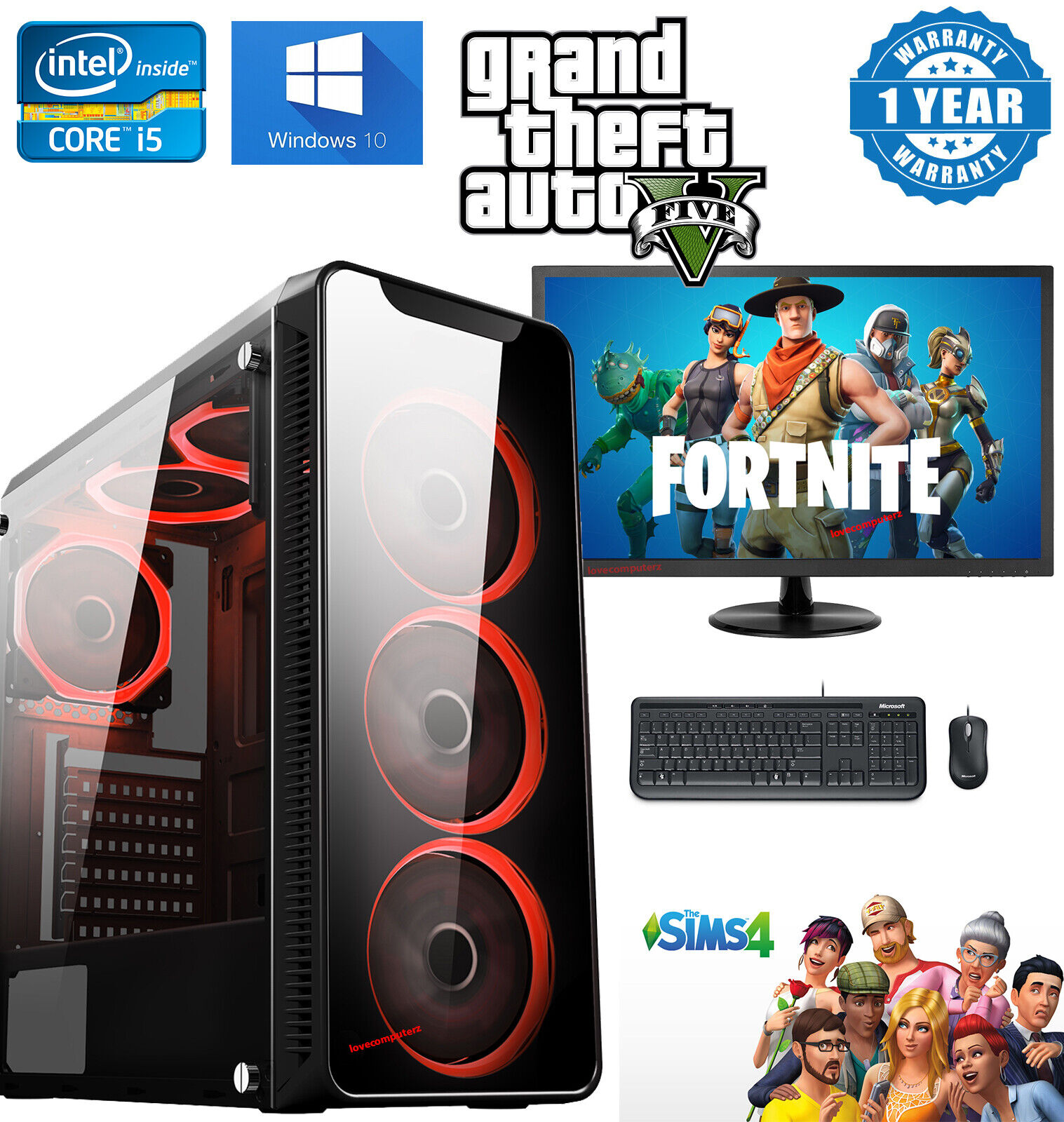 Computer Games - Gaming PC Bundle Quad Core i5 Computer 16GB RAM 1TB Windows 10 2GB GT710 WiFi UK