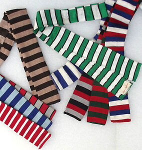Square-end-tie-Vintage-Edwardian-FOUR-IN-HAND-original-teddy-boy-SHORT-striped