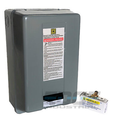 Square D Magnetic Motor Starter 8911dpsg32v09 8911dpso32v09 5hp 1-ph 230vac 30a