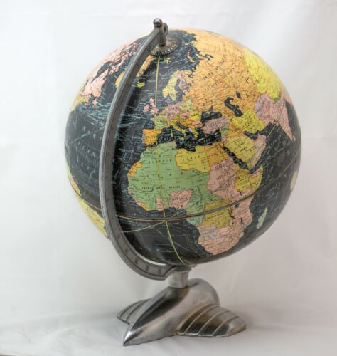 "12"" 1935 antique table terrestrial globe WEBER COSTELLO PLANE BASE black globe"
