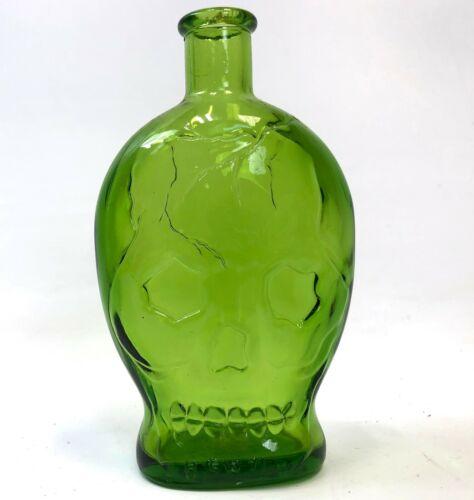 """RARE 5.5"""" WHEATON NJ Opaque Green Halloween Horror Poison Skull Embossed Bottle"""