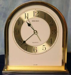 Seiko Glass & Brass Desk Clock #46501A - Made in Japan *EUC*
