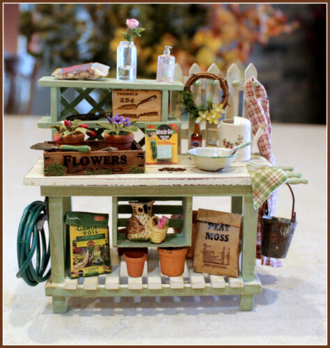 Dollhouse Miniature Handcrafted Potting Table and Accessories