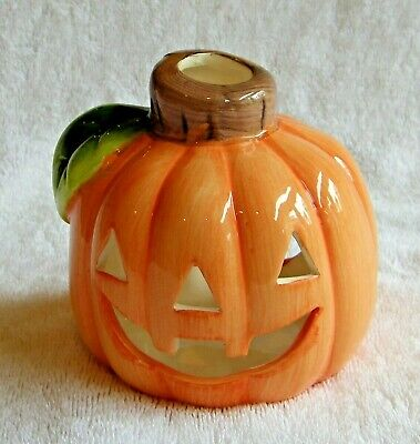 Ceramic Hand-Painted Halloween Jack-O-Lantern Pumpkin Luminary Candle Holder