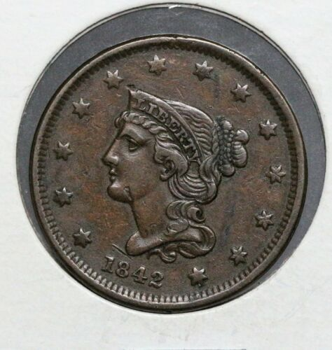 1842 1C SMALL DATE BRAIDED HAIR LARGE CENT CHOICE XF SEMI KEY DATE NEWCOMB N-2!