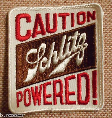 Schlitz Powered Beer Embroidered Patch 3-3/8  inches Beer Ale Vintage